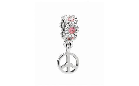 Sign Silver Dangle With Cubic Zirconia P 941 pandora dangle charm sterling silver salmon cubic zirconia peace sign bloomingdale s