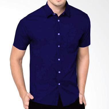 Kemeja Pria Lengan Pendek Warna Vintage Blue jual baju atasan formal pria terbaru harga murah blibli