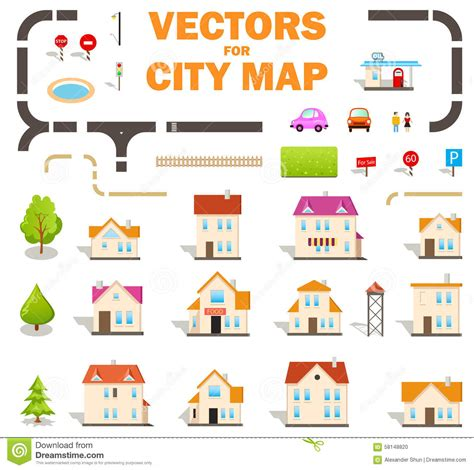 map design elements vector set of vector elements for city map design stock vector