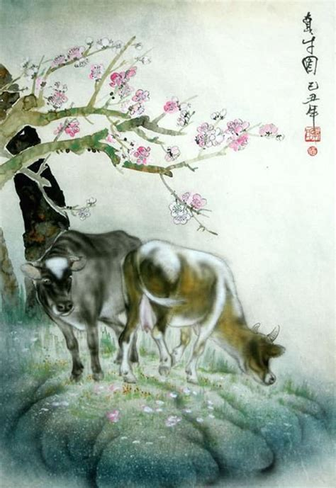 chinese cattle painting   cm  cm
