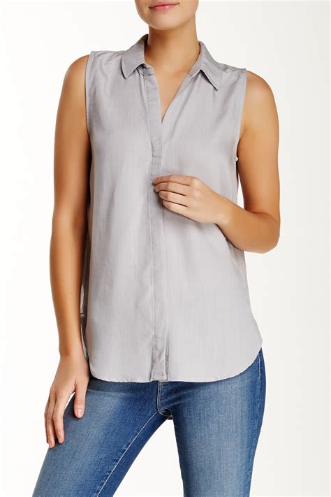 Sleeveless Blouse N by Sleeveless Collared Blouse Blue Denim Blouses