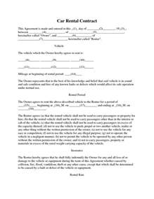 Car Rental Agreement Contract Best Photos Of Car Rental Form Car Rental Agreement Form