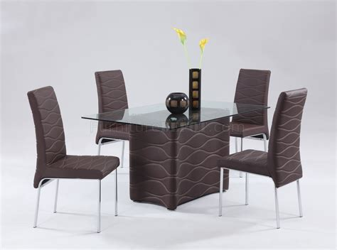 Modern Glass Dining Room Table And Chairs Brown Modern Dining Room Glass Top Table W Optional Chairs