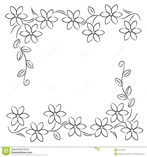 wallpaper border black and white flowers flower line border black white stock illustration