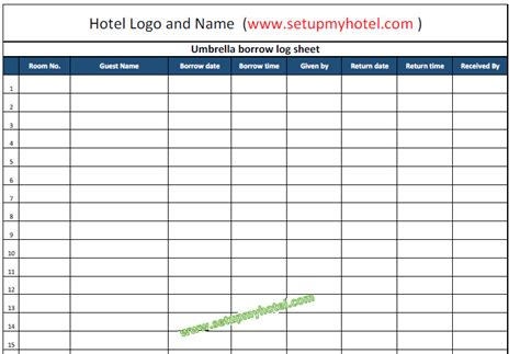 Concierge Umbrella Borrow Log Book Tracking Sheet Format Hotel Guest Book Template