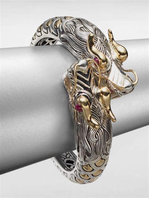 John hardy Sterling Silver 18k Gold Dragon Cuff Bracelet in Metallic   Lyst