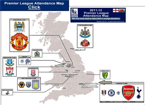 map of premier league teams premier league attendance map for clubs in 2011 12 season