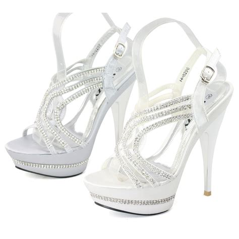 white silver high heels new white silver satin strappy high platform