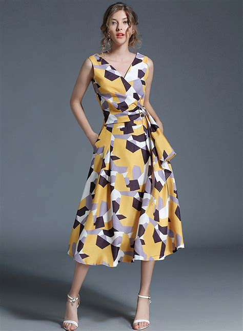 2017 07 24 vaughn womens dresses women s fashion v neck sleeveless geometric print slim