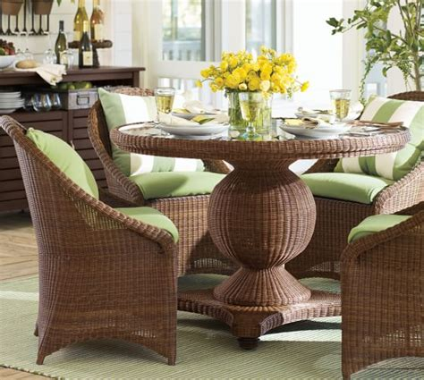 all weather wicker dining table and chairs palmetto all weather wicker pedestal dining table