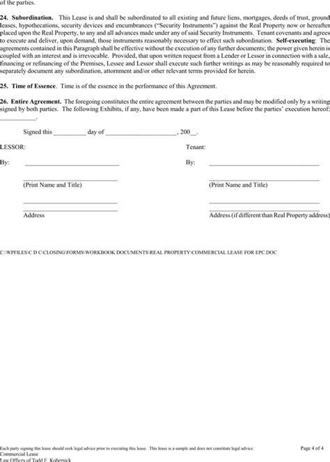 Download Blank Commercial Lease Agreement For Free Page 4 Formtemplate Epc Agreement Template