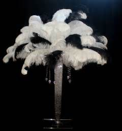Black and white feather centerpiecewhite centerpieces feathers