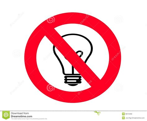 non incandescent light bulbs no incandescent light bulb sign royalty free stock images
