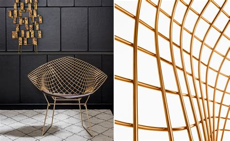Wire Armchair Bertoia Gold Plated Small Diamond Chair With Seat Cushion