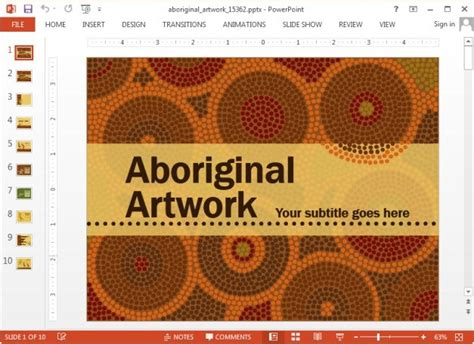 powerpoint themes culture animated aboriginal art template for powerpoint and keynote