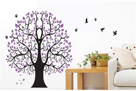 unique decoration green purple kitchen plant decals decosee com classical purple flower tree wall decal 5098 decorative