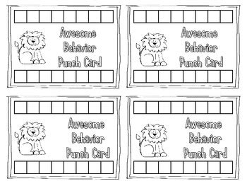 punch card template for students behavior punch cards for classroom management by mrs mabe