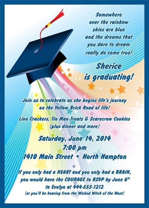 themes come true invitations graduation land of oz invitation somewhere over the
