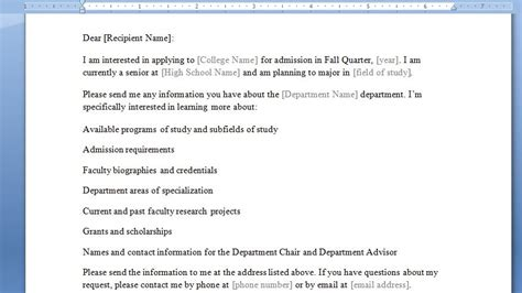 School Admission Enquiry Letter Formal Letter Requesting Information Writing A Formal Request Letter Sle College Re