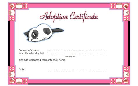 blank adoption certificate template pet adoption certificate template the best template