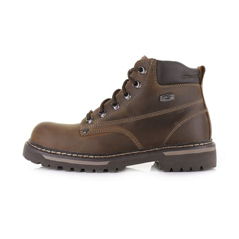 skechers mens boots uk mens skechers cool cat bully 2 brown leather work casual