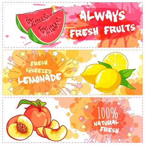 design banner juice three horizontal banners for fruit juices stock vector