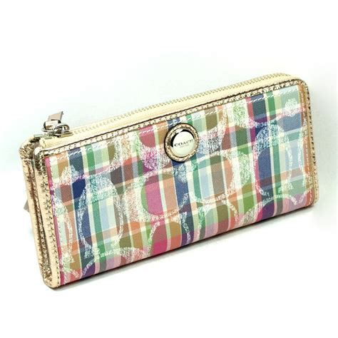 poppy wallet coach poppy madras slim zip wallet clutch 47590 coach