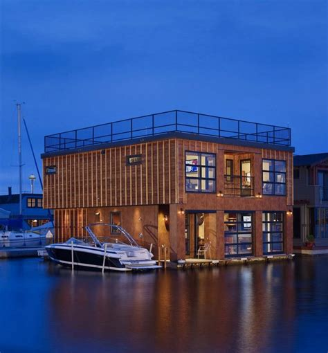 modern lake house wooden floating house with modern interior lake union