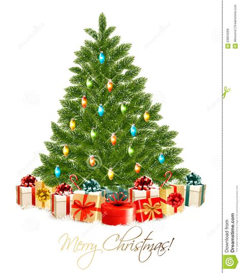 merry christmas card  christmas tree  gift boxes stock vector illustration  giftbox