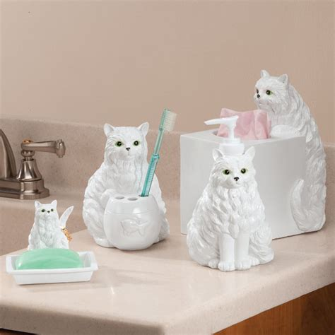 cat bathroom set playful cat bathroom accessories set of 4 soap dish