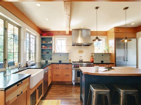 butcher block countertops  shaker cabinets tile