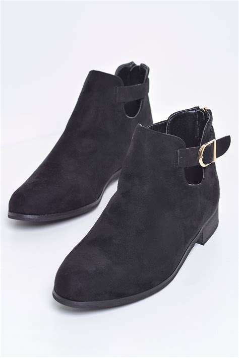 c m layla buckle ankle boots in black suede iclothing