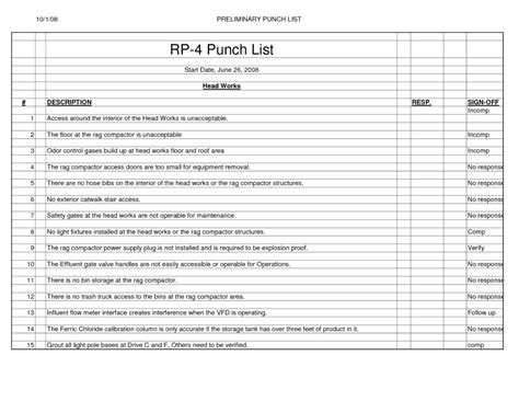 commercial construction punch list template project contractor punch list template excel project