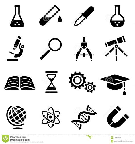 simple design tool icon set of black simple silhouette of scientific tools in