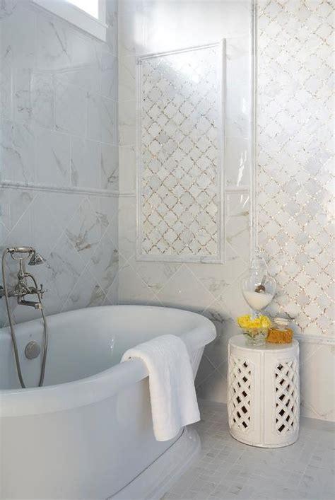 gold arabesque tile white and gold arabesque tiles transitional bathroom