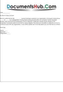 noc letter format for employee documentshub