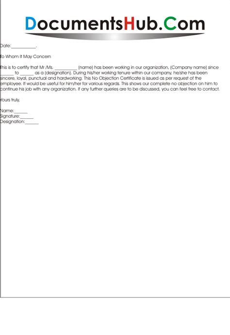 Sponsor Noc Letter Noc Letter Format For Employee Documentshub