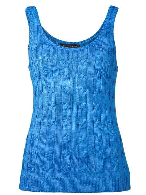 knit tank top lyst ralph black label cable knit tank top in blue