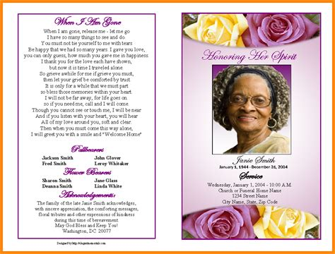 stron biz sle funeral program template
