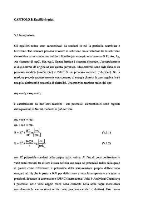 Chimica Analitica Dispense by Equilibri Redox Dispense