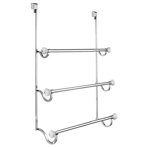 York Over Shower Door Towel Rack 3 In White And Chrome Door Shower Rack