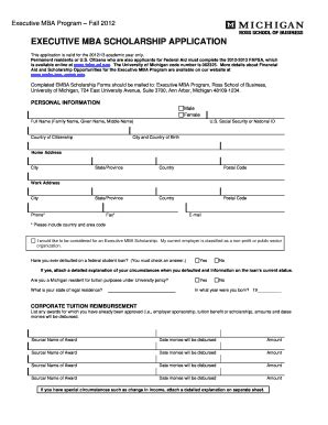 Mba Scholarship Application by Fillable Umich Executive Mba Scholarship