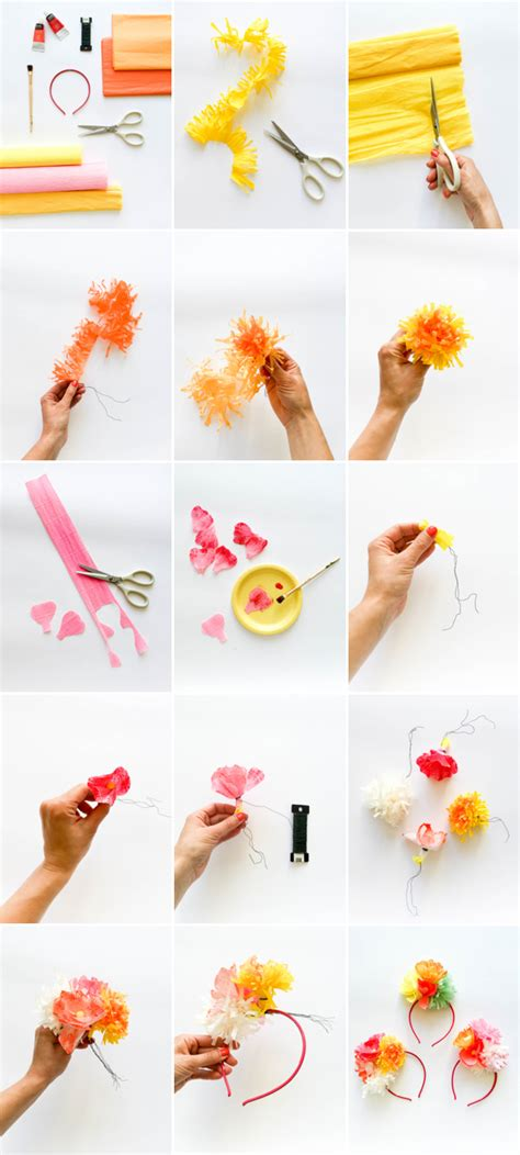 How To Make A Paper Headband - paper flower headband diy