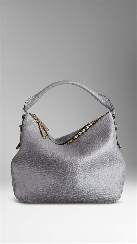 burberry small heritage grain leather hobo bag in gray lyst