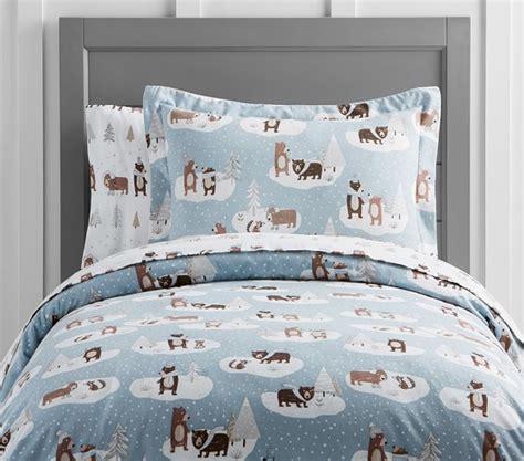 Winter Duvet Covers Winter Flannel Duvet Cover Pottery Barn