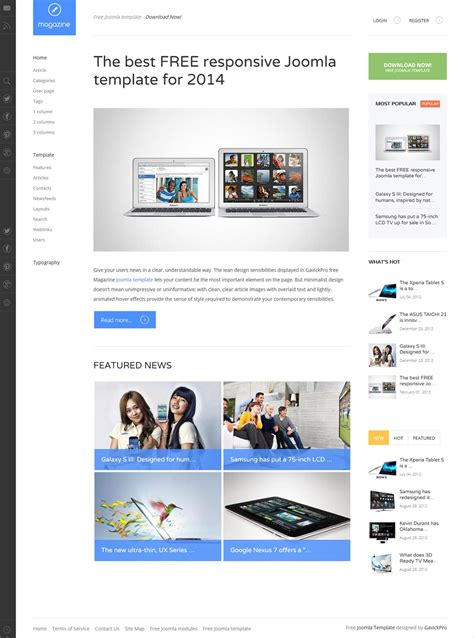 joomla article design layout free magazine template for joomla gavickpro