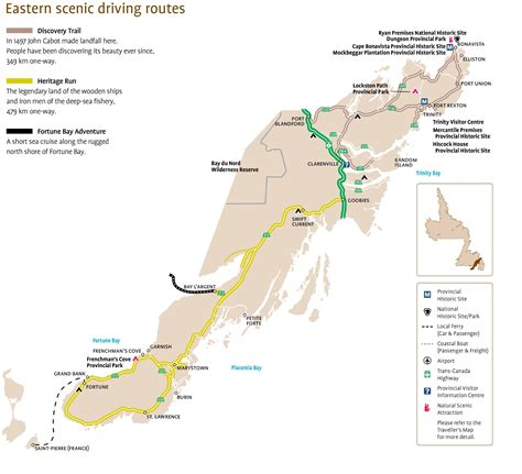 maps directions driving canada eastern newfoundland scenic driving routes map