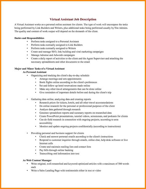 assistant description resume resume ideas