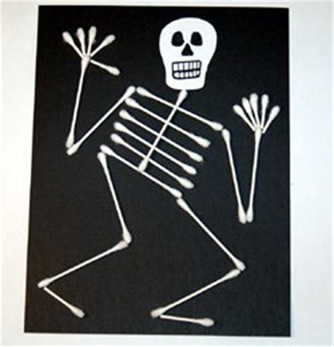 halloween q tip skeleton craft preschool education for kids