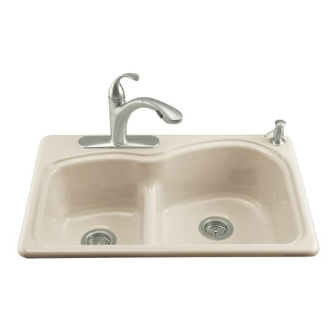 Cast Iron Kitchen Sinks Shop Kohler Woodfield Double Basin Drop In Enameled Cast